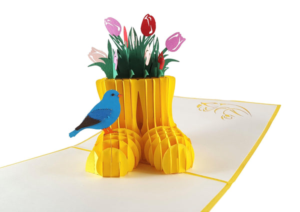 Rain Boot Flower Arrangement 3D Pop Up Greeting Card 2