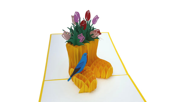 Rain Boot Flower Arrangement 3D Pop Up Greeting Card 4