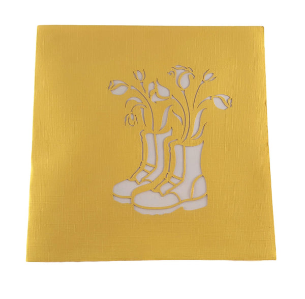 Rain Boot Flower Arrangement 3D Pop Up Greeting Card 8