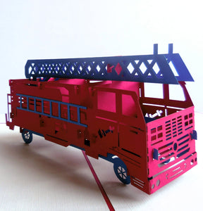 Fire Truck 3D Pop Up Greeting Card 1