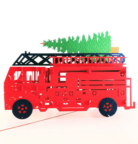 Fire Truck And Christmas Tree 3D Pop Up Greeting Card 1 front