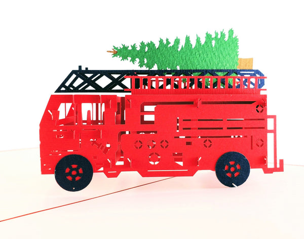 Fire Truck And Christmas Tree 3D Pop Up Greeting Card 1