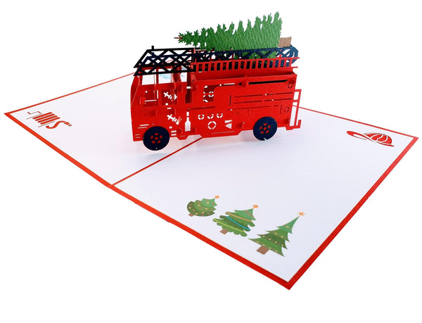 Fire Truck And Christmas Tree 3D Pop Up Greeting Card 2