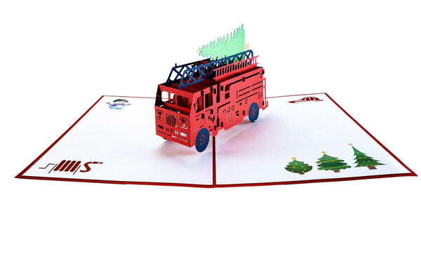 Fire Truck And Christmas Tree 3D Pop Up Greeting Card 3