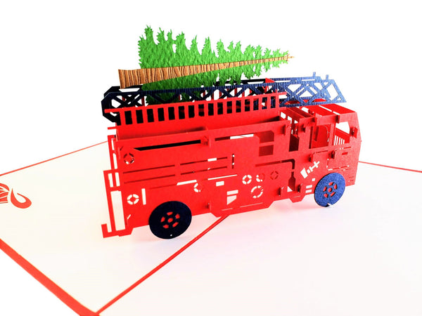 Fire Truck And Christmas Tree 3D Pop Up Greeting Card 4