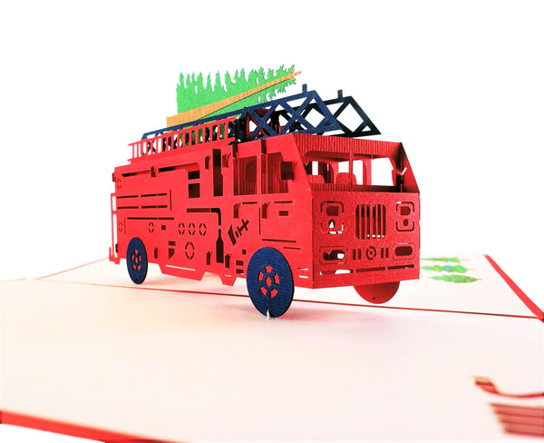 Fire Truck And Christmas Tree 3D Pop Up Greeting Card 5