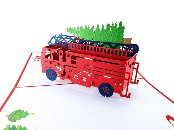 Fire Truck And Christmas Tree 3D Pop Up Greeting Card 6