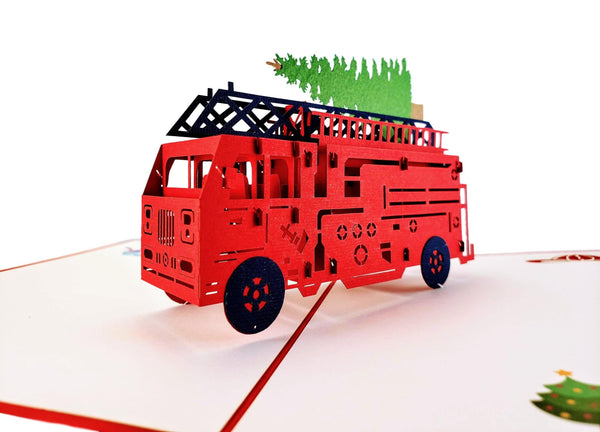 Fire Truck And Christmas Tree 3D Pop Up Greeting Card 7