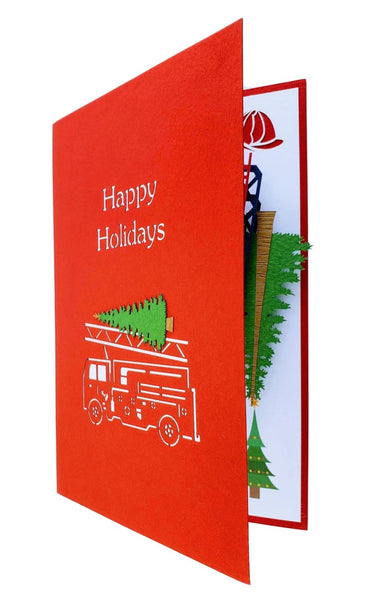 Fire Truck And Christmas Tree 3D Pop Up Greeting Card 8