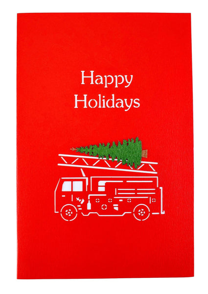 Fire Truck And Christmas Tree 3D Pop Up Greeting Card 9