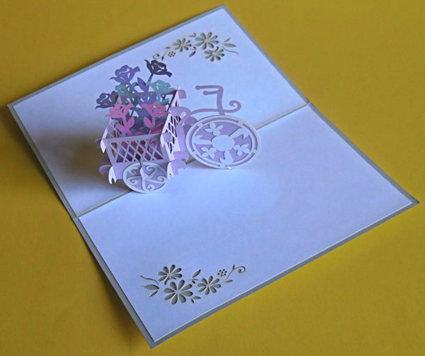 Flower Bike 3D Pop Up Greeting Card 2