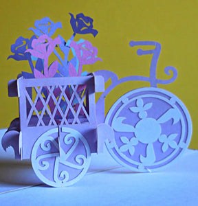 Flower Bike 3D Pop Up Greeting Card 1