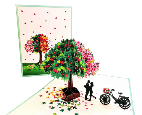 Four Seasons Tree of Love 3D Pop Up Greeting Card