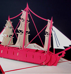 French Ship 3D Pop Up Greeting Card 1