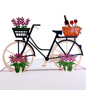 Fun Bike and Fine Wine 3D Pop Up Greeting Card 1 front