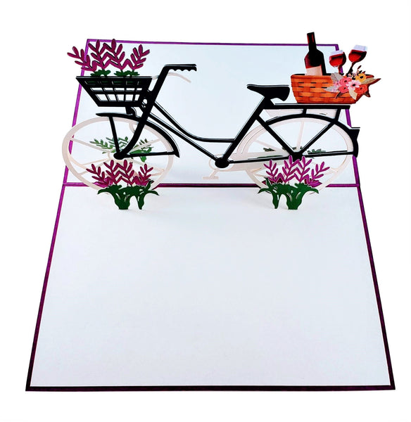 Fun Bike and Fine Wine 3D Pop Up Greeting Card 2