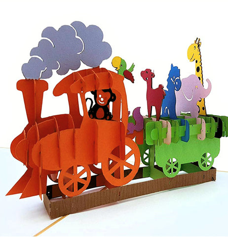 Fun Train 3D Pop Up Greeting Card 1