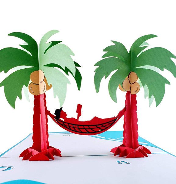 Funny Man Relaxes on Beach 3D Pop Up Greeting Card 1 front