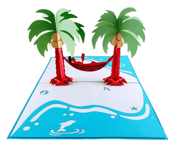Funny Man Relaxes on Beach 3D Pop Up Greeting Card 2