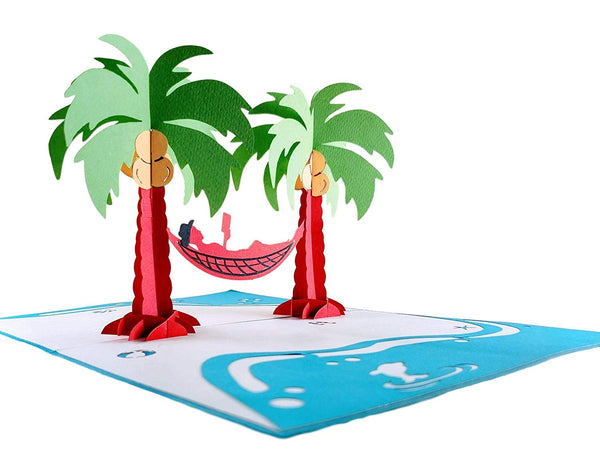 Funny Man Relaxes on Beach 3D Pop Up Greeting Card 3