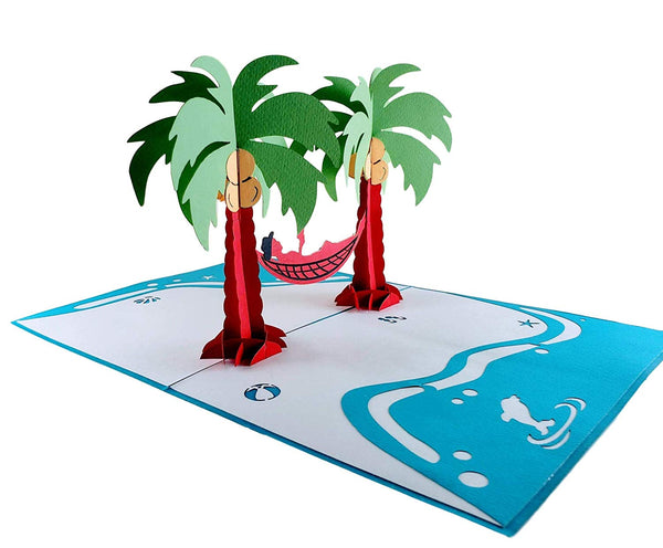 Funny Man Relaxes on Beach 3D Pop Up Greeting Card 7