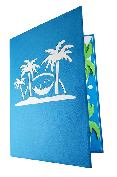 Funny Man Relaxes on Beach 3D Pop Up Greeting Card 8