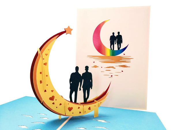 Love You To The Moon And Back Gay Couple 3D Pop Up Greeting Card - Valentines, Wedding, Marriage, Engagement, Anniversary, Pride, Romantic