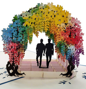 Gay Wisteria Flower Tunnel 3D Pop Up Greeting Card 1 front