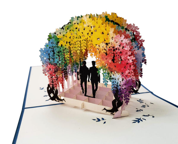 Gay Wisteria Flower Tunnel 3D Pop Up Greeting Card 4