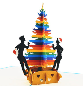 Gay Christmas 3D Pop Up Greeting Card 1 front