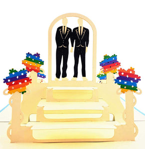 Gay Couple Celebration 3D Pop Up Greeting Card 1 front