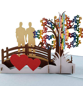 Gay Couple True Love 3D Pop Up Greeting Card 1 front