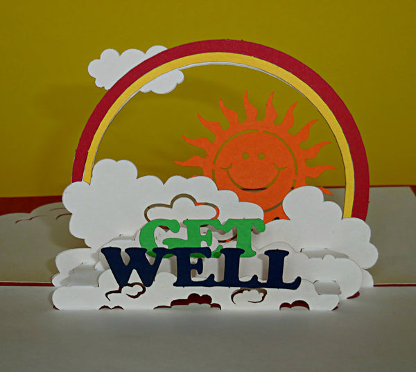 Get Well (Red) 3D Pop Up Greeting Card 3