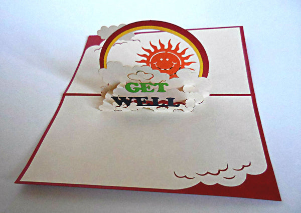 Get Well (Red) 3D Pop Up Greeting Card 2