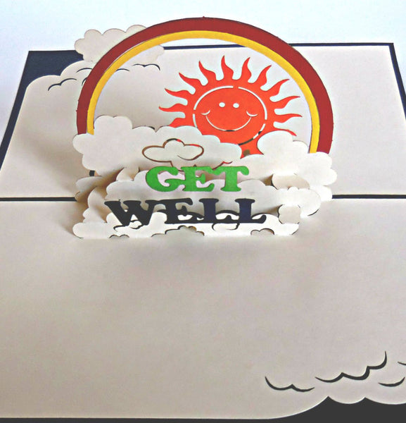 Get Well (Blue) 3D Pop Up Greeting Card 1 front