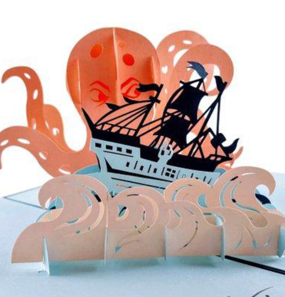 Giant Octopus Kraken Attacks Pirate Ship 3D Pop Up Greeting Card 1 front