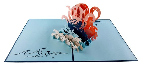 Giant Octopus Kraken Attacks Pirate Ship 3D Pop Up Greeting Card 4