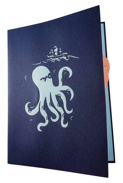 Giant Octopus Kraken Attacks Pirate Ship 3D Pop Up Greeting Card 8