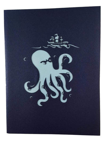Giant Octopus Kraken Attacks Pirate Ship 3D Pop Up Greeting Card 9