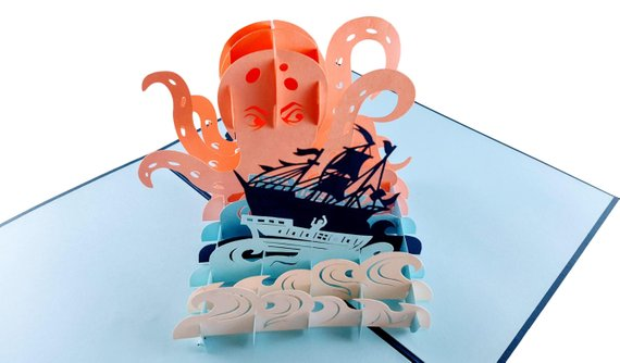 Giant Octopus Kraken Attacks Pirate Ship 3D Pop Up Greeting Card 3