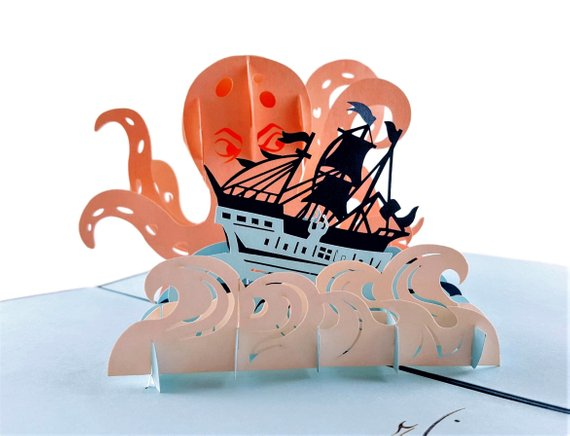 Giant Octopus Kraken Attacks Pirate Ship 3D Pop Up Greeting Card 2