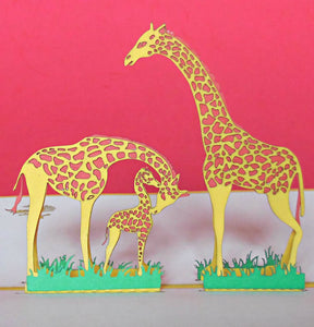Giraffes 3D Pop Up Greeting Card 1