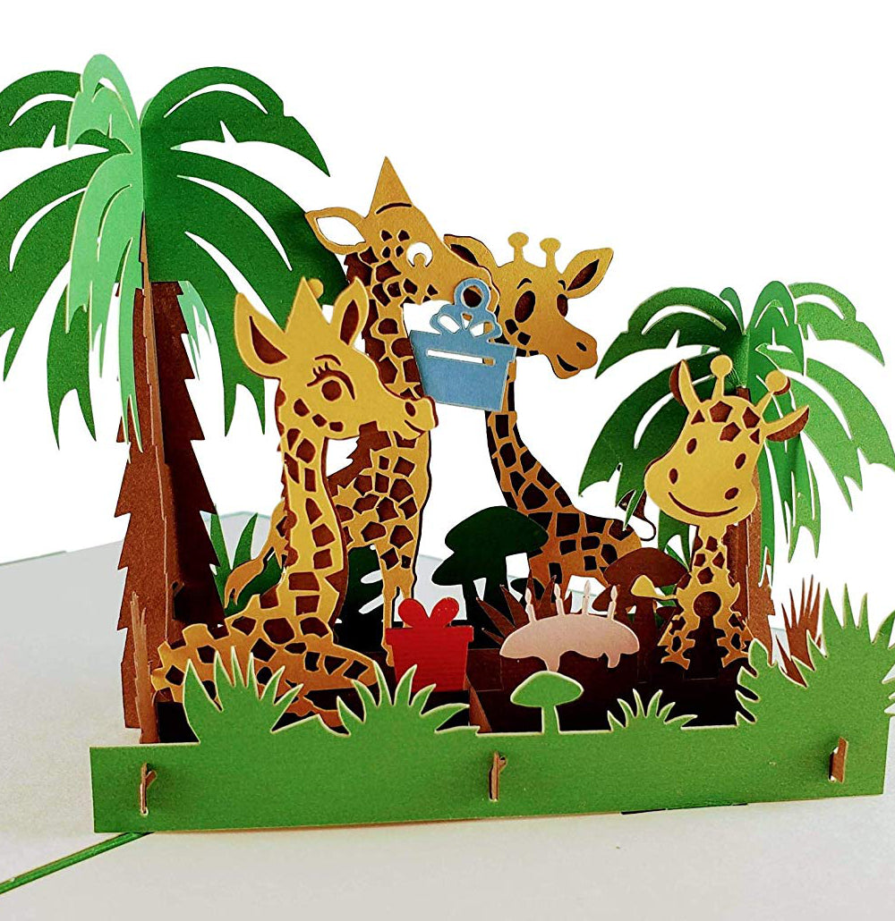 Giraffes Birthday 3D Pop Up Greeting Card 1 front