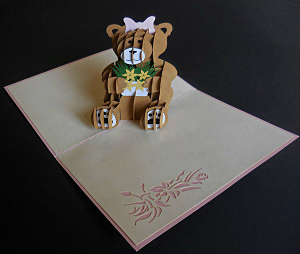 Girl Bear 3D Pop Up Greeting Card 2