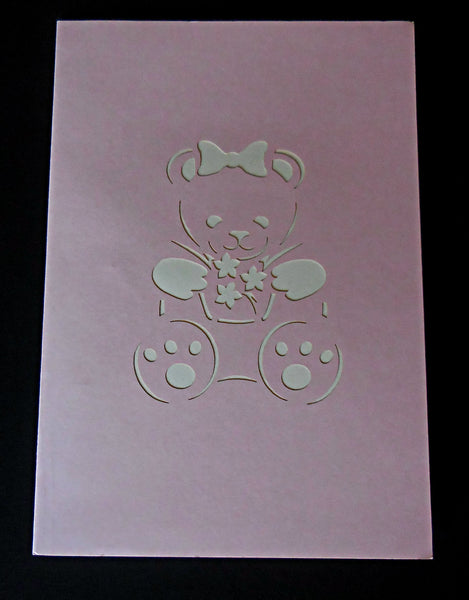 Girl Bear 3D Pop Up Greeting Card 3
