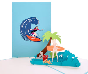 Girl Surfing 3D Pop Up Greeting Card