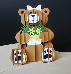 Girl Bear 3D Pop Up Greeting Card 1