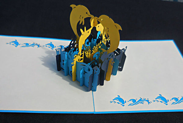 Golden Dolphins 3D Pop Up Greeting Card 2