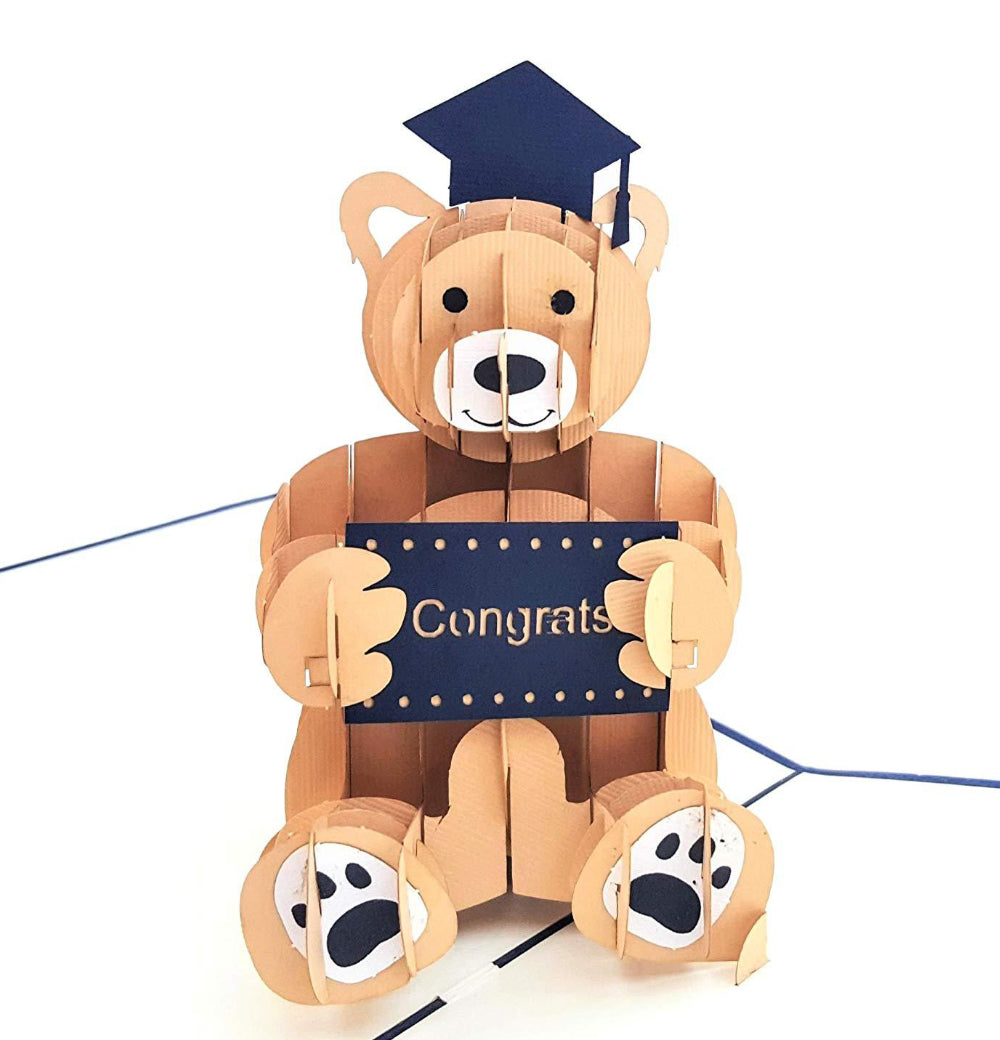 Graduation Bear 3D Pop Up Greeting Card 1 front