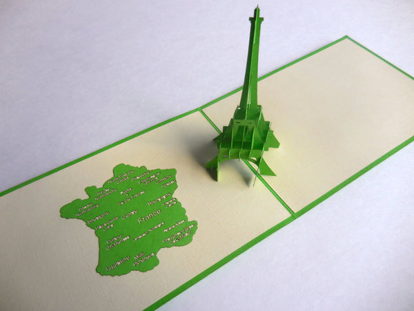 Eiffel (Green) 3D Pop Up Greeting Card 2